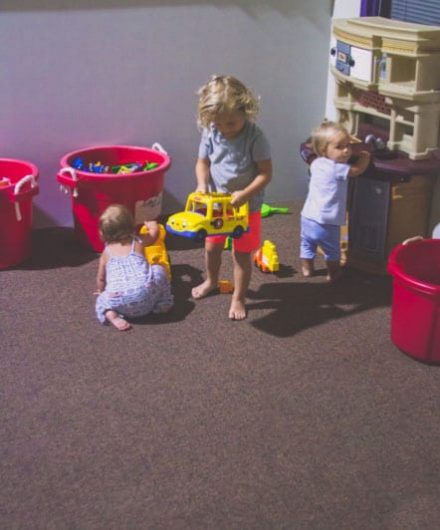 children playing with toys at gym daycare