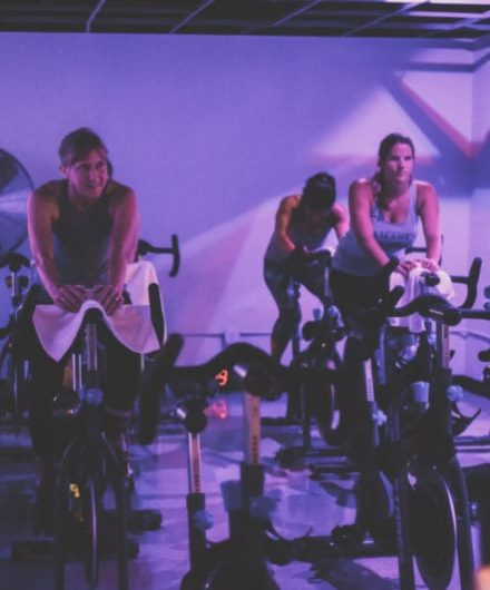 cycling class in spacious studio